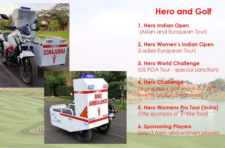 Golf sponsor, Hero, donates 2-wheeler mobile ambulances; auto industry a vehicle in fight against Covid-19
