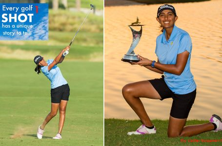 SHOT 1 – With a gun to her head, Aditi uncorks perfect 7-iron to win again