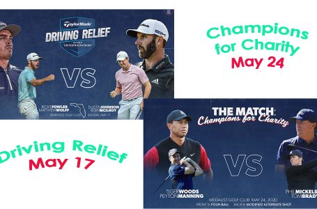 "Charity golf before competitive golf – ""Made for TV"" blockbusters on May 17 and 24 for Covid-19 Relief Funds"