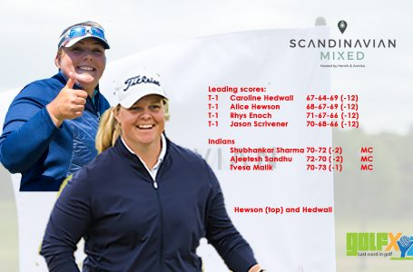 Ladies Hedwall, Hewson among four leaders at Scandinavian Mixed golf