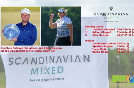 Caldwell holds off Otaegui, Hewson at the exciting Scandinavian Mixed; Hewson top woman finisher